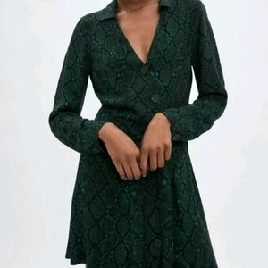 Zara Snake Print Green Button Long Sleeve Dress
